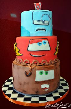 For a fourth birthday party! He LOVED the Cars 2 movie, so Emi did this with the bottom tier as Mater, the middle as Lightning McQueen and the top as Professor Z.