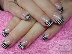 Beautiful nail art designs that are just too cute to resist. It's time to try out something new with your nail art. French Nail Art, French Tip Nails, Nail Tip Designs, Art Designs, Plaid Nails, Modern Nails, Hot Nails, Beautiful Nail Art, Creative Nails