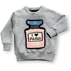 Michaela Buerger I ♥ Paris Sweatshirt (1031215 PYG) ❤ liked on Polyvore featuring tops, hoodies, sweatshirts, grey, kids apparel shirts, grey crew neck sweatshirt, crew shirt, gray sweatshirt, pullover sweatshirt and grey long sleeve shirt