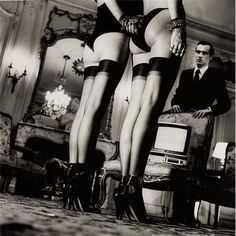 HELMUT NEWTON - Two Pairs of Legs in Black Stockings, Paris, 1979