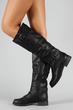 Dillian-7 Buckle Knee High Riding Boot