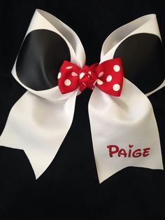 Mouse Inspired personalized 3 Cheer Bow by PixieDustPaiges on Etsy, $14.00