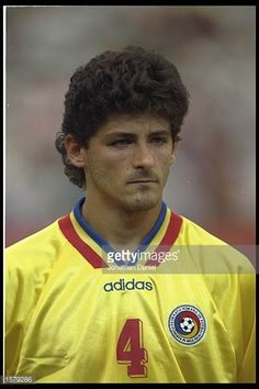 Portrait of Miodrag Belodedici of Romania before the start of the game against Switzerland during the World Cup Finals Consigue fotografías de noticias de alta resolución y gran calidad en Getty Images World Cup Final, Real Madrid, Soccer, Portrait, Switzerland, People, Pictures, Game, Finals