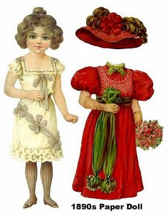 1890s paper doll* For lots of free Christmas paper dolls International Paper…