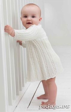 Baby Knitting Patterns White knitted lace baby robe, Free knitting pattern//Oh, I need I had considerably lady to make this for.so cute Baby Knitting Patterns Lace Knitting, Baby Knitting Patterns, Baby Patterns, Crochet Pattern, Baby Girl Dress Patterns, Free Pattern, Girls Knitted Dress, Knitted Baby Clothes, Knit Dress