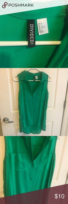 Green sleeveless H&M button up No flaws, great condition, size 2, open to offers H&M Tops