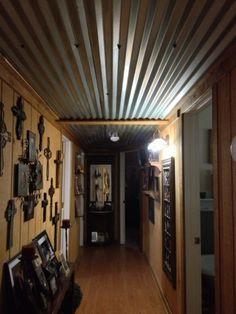 Barn tin ceiling in our hallway drop Metal Ceiling, Ceiling Panels, Metal Roof, Ceiling Lights, Floor Design, House Design, Barn Tin, Tin Walls, Metal Walls