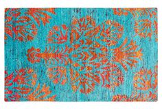 5'x8' Sari Silk Rug, Dark Cyan/Azure | One Kings Lane