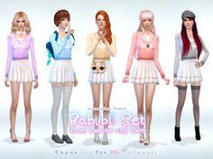 Babubi set sweater and skirt at manuea Pinny via Sims 4 Updates