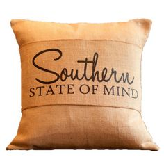 Southern State of Mind Burlap Pillow Wrap  or maybe a plaid pillow with the burlap wrap!