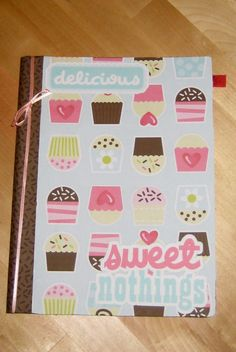 Cupcake altered composition book.