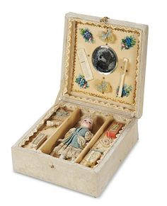 """Theriault's - 4.5"""" French Presentation Box with All-Bisque Mignonette and Toiletries, c 1890"""