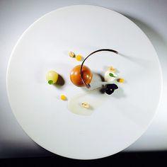 Dessert+for+my+next+book!+Chocolate+caramel+Mousse,+Compressed+Apples,+Honey+Yogurt,+Apple+Purée+,+Candied+Peanut+#theartofplating+#chefstalk