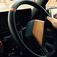 "Leather wrapped steering wheel for Range Rover Classic prepared by ""LINNK"" Fuelling the Passion"