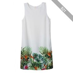LUCLUC Rainforest Printed Sleeveless Mini Garden Dress