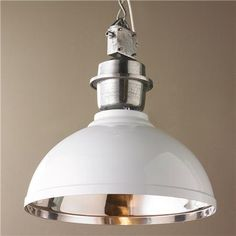Large Industrial Enameled Shade Warehouse Pendant These large pendants have the details of authentic warehouse lights but the sleek style of new modern pendants. The galvanized accents combined with a high gloss enamel create this new industrial warehouse shade pendant. Specify Red or White