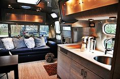 Airstream Camper Interior Modern Style <---- now this is what I call 'GLAMping! Airstream Vintage, Airstream Campers, Airstream Remodel, Airstream Renovation, Airstream Interior, Trailer Interior, Trailer Remodel, Remodeled Campers, Vintage Trailers