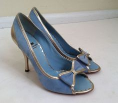 Moschino Cheap and Chic NEW blue suede metallic leather peep toe bow pumps 38 #Moschino #PumpsClassics