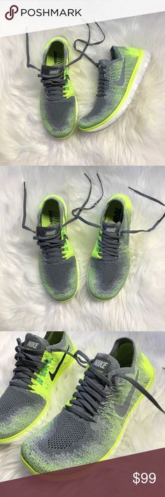 Nike Free RN Flyknit New Nike Free RN Flyknit 2017 in unisex volt/grey! These are grade school sizing but can convert to women's sizing per Nike charts. Youth 5.5 = women's 7. Come in full Nike boxes...wishing they were my size! 😫 Nike Shoes Sneakers