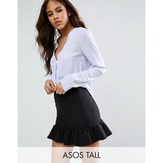 ASOS TALL V Neck Blouse ($37) ❤ liked on Polyvore featuring tops, blouses