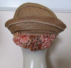 RH-Mlle-Aileen-Vintage-1920s-Natural-Straw-Curved-Brim-Cloche-Hat-Velvet-Blooms