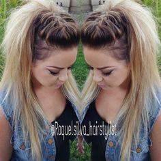 Raquel Silva @raquelsilva_hairstylist | French braid fohawk
