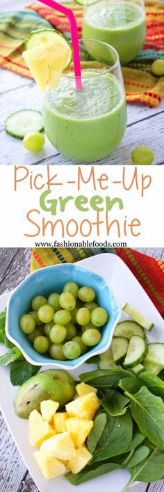 "A green smoothie that combines a mixture of healthy veggies with sweet fruit and is blended with coconut water for a refreshing ""pick me up"". This smoothie is so good you'll forget it's healthy! (healthy smoothies for kids) Smoothies For Kids, Healthy Green Smoothies, Green Smoothie Recipes, Yummy Smoothies, Smoothie Drinks, Juice Smoothie, Yummy Drinks, Healthy Drinks, Healthy Eating"