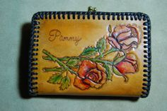 Leather clutch purse wallet with hand tooled roses and bird hummingbird, fox, horses, woodland sale