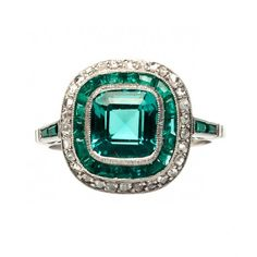 vintage inspired emerald diamond engagement ring