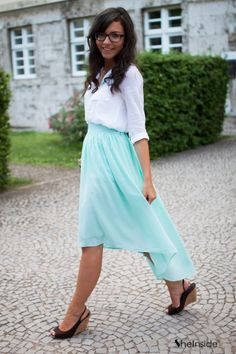 Blue High Low Chiffon Skirt i so want this for my 5th grade graduation