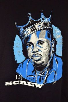 DJ Screw Shirt Mens XL Black Blue Screwville Houston Texas Rap Southern Hip Hop RIP Robert Davis King of the South