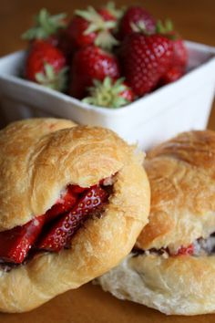 Strawberry & Nutella Croissants - perfect for breakfast.