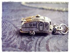 Tiny RV Camper / Travel Trailer 3D Charm Necklace