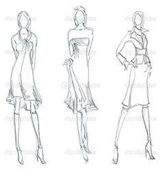 How to Draw Fashion Sketches   SKETCH. fashion girl. Hand-drawn fashion model — Stock Vector ...