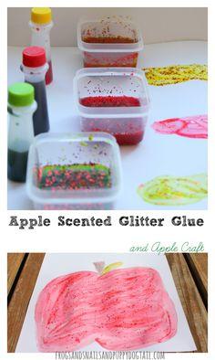 DIY apple scented glitter glue recipe