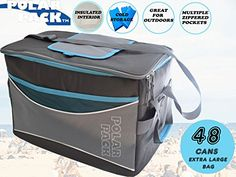 POLAR PACK Extra Large 48 Can Collapsible Cooler Bag Soft Portable Insulated Picnic Bag Outdoor Indoor Travel Lunch Bag for Camping Hiking Events School Travel Concerts & Sports (BLACK/CHAR/TURQ). For product & price info go to:  https://all4hiking.com/products/polar-pack-extra-large-48-can-collapsible-cooler-bag-soft-portable-insulated-picnic-bag-outdoor-indoor-travel-lunch-bag-for-camping-hiking-events-school-travel-concerts-sports-black-char-turq/