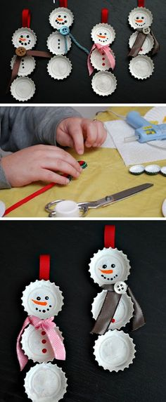 Snowman Bottle Cap Ornament | Click for 25 DIY Christmas Crafts for Kids to Make | DIY Christmas Decorations for Kids to Make