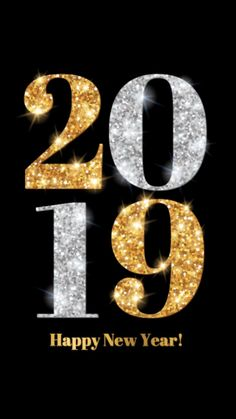 Shiny Gold Happy New Year Card 2018 | Christmas and New Year | Pinterest