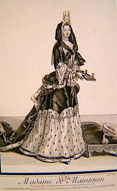 Marquise de Maintenon wearing a mantua with a basket bustle and a jacket bodice.  The Marquise de Maintenon wears a jacket bodice and mantua over half-covered in fur in this print. Her bodice curves around over the top of her bustle. While the skirt draping in the next image was obscured, it is visible here - she wears a mantua.  A band of material secures the fur lining to her skirt.