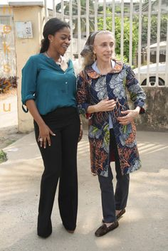 Nigerian designer, Tiffany Amber, with Franca Sozzani, Vogue Italia editor in Nigeria.