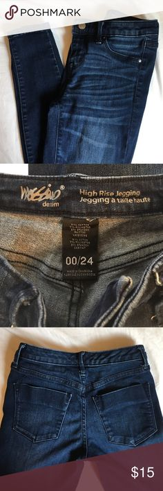 High Rise Jegging   Size 00 Dark wash, high rise skinny jeggings. great condition; only worn a couple of times. Size 00. Mossimo Supply Co Jeans Skinny