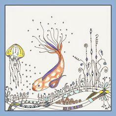 Heilzeichnen: Das Thema Fisch, ein Zendoodle Fisch