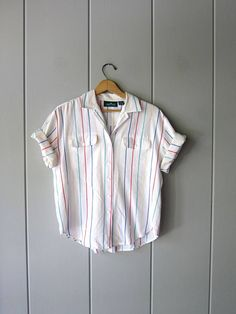 Oversized 80s White Rainbow Striped TShirt Semi Sheer Cotton White Rainbow, Beach Shirts, How To Roll Sleeves, Vintage Tops, Summer Looks, Fashion Styles, Preppy, Button Up Shirts, Pride