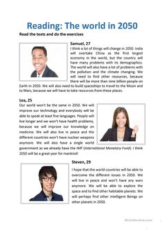This is a reading comprehension for students who learn about the future. They have to read the three texts and fill in the table. They will also have to write a text about the world in - ESL worksheets Mini Reading, Speed Reading, English Reading, Reading Skills, Teaching English Grammar, English Language Learning, English Vocabulary, English Worksheets For Kids, English Activities