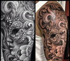 TattooVenetian colombina mask roses filigree baroque arm