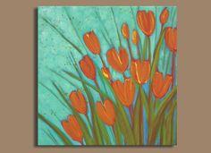 Orange Spray of Flowers Painting with Aqua  by SageMountainStudio, $68.00