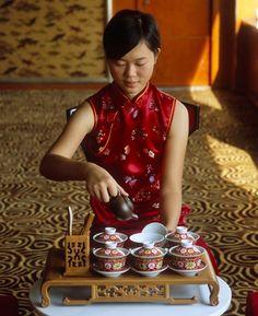 Traditional chinese tea on the Yangzi River on the Sanctuary M.S. Yangzi Explorer