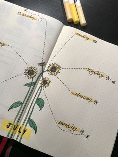 Bullet journal weekly spread, sunflower theme Bullet Journal Vision Board, Bullet Journal Week, Bullet Journal Spread, Bullet Journal Ideas Pages, Bullet Journal Layout, Bullet Journal Inspiration, Filofax, Journal Template, Timetable Template