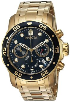 Invicta Men's 0072 Pro Diver Collection Chronograph Gold-Plated Watch, Gold/Black - Online Shopping in Pakistan: Electronics Relic Watches, Cool Watches, Watches For Men, Wrist Watches, Bracelet Cuir, Bracelet Watch, Diesel Watch, Or Noir, Nato Strap