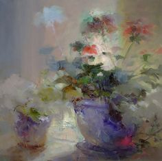 Flowers XXI                                                                                     Mixed Media on Cotton Canvas 100 X 100 Cm.                                                                             By Jordi Feliu